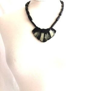 Vintage Black Marbled STATEMENT Necklace